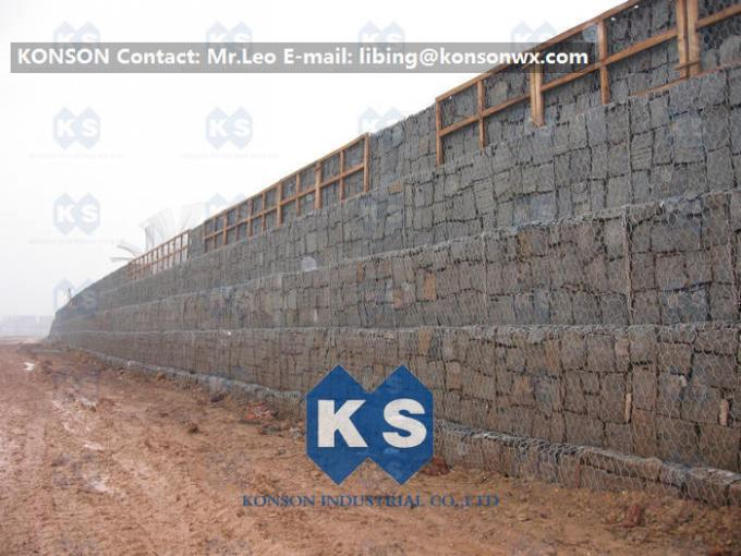 Galvanized Wire Gabion Retaining Walls Plastic or Stainless Steel Wire PE Coating Gabion Mattress